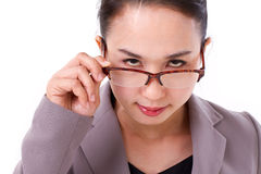 Angry female boss looking at you Stock Photo