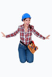 Angry female construction worker. Royalty Free Stock Photography
