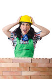 The angry female construction worker on white Royalty Free Stock Image