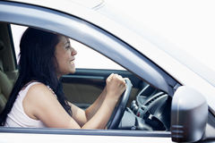 Angry female driver Stock Photo
