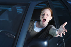 Angry Female Driver Stock Photography