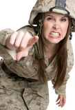 Angry Female Soldier. Beautiful angry female military soldier stock photography