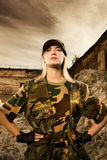 Angry female soldier Royalty Free Stock Image