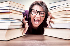Angry female student Royalty Free Stock Image