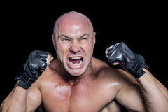 Angry fighter with gloves Royalty Free Stock Photography