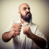 Angry fighter long beard and mustache man Stock Image