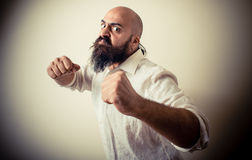 Angry fighter long beard and mustache man Royalty Free Stock Photo