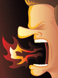 Angry Fire Breather. Man Yelling with Hot Fire Burning His Mouth Royalty Free Stock Photos