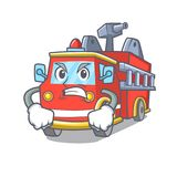 Angry fire truck mascot cartoon. Vector illustration Stock Images
