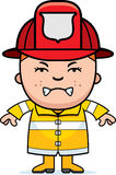 Angry Firefighter Boy. A cartoon illustration of a firefighter boy looking angry Stock Photography
