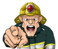 Angry firefighter Stock Images