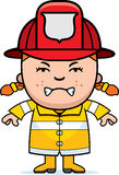 Angry Firefighter Girl. A cartoon illustration of a firefighter girl looking angry Stock Photos