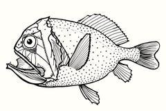 Angry fish. Abstract fish, hand drawn vector illustration Royalty Free Stock Photography