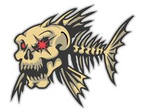Angry fish bones cartoon mascot in  illustration. Animal cartoon mascot in  illustration Stock Photography