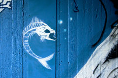 Angry fish graffiti on blue concrete background Stock Photos