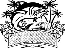 Angry fish with tropical background royalty free illustration