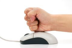 Angry Fist Hitting Mouse Royalty Free Stock Image