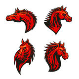 Angry flaming horse mascot set. Angry horse mascot set with red flaming mustang or stallion with aggressive glare and tribal ornamental mane. Sporting team Royalty Free Stock Photos