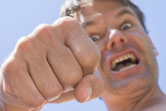 Angry flying fist Royalty Free Stock Photos