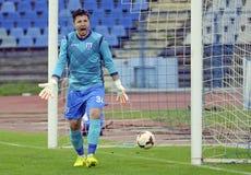 Angry football goalkeeper Stock Image