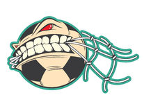 Angry football, soccer ball sticker vector concept Stock Images