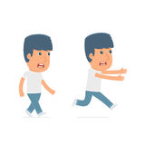Angry and Frightened Character Activist goes and runs. For use in presentations, etc Royalty Free Stock Photography