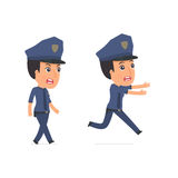 Angry and Frightened Character Constabulary goes and runs Royalty Free Stock Images