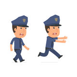 Angry and Frightened Character Officer goes and runs Stock Photo
