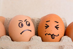 Angry and frightened face eggs Stock Photography