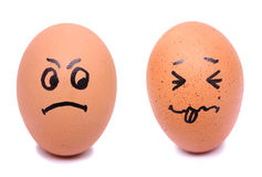 Angry and frightened face eggs Royalty Free Stock Photos