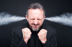 Angry Frustrated Man With Exploding Head Stock Photography