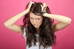 Angry frustrated woman. A young attractive woman is screaming Stock Photos