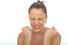 Angry Frustrated Young Woman Portrait with Clenched Fists Royalty Free Stock Image