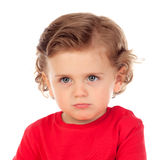 Angry funny baby with red t-shirt Royalty Free Stock Photography