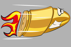 Angry funny bullet. Evil flying bullet. Illustration in cartoon style Royalty Free Stock Photography
