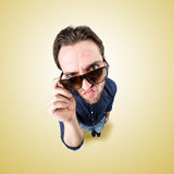 Angry funny man look in camera from above Royalty Free Stock Images