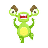 Angry Funny Monster Pissed Off, Green Alien Emoji Cartoon Character Sticker Stock Photos
