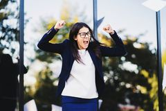 Angry furious female businesswoman screaming in anger. Stress management, mental distress problems, losing temper stock photos