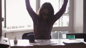 Angry furious pretty female office worker throwing paper, having nervous breakdown at work, slow motion. 3840x2160. Angry furious female office worker throwing stock video footage