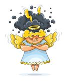 Angry furious guardian angel with wings. Cartoon angry furious guardian angel funny character with wings and nimbus. Black clouds thunderstorm lightnings over Stock Images