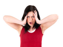 Angry, furious, shouting young woman Royalty Free Stock Photo