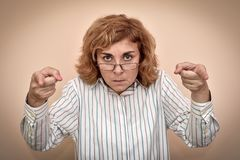 Angry and furious woman stock images