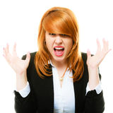 Angry furious woman screaming. Negative emotions. Angry mad businesswoman crazy redhair boss furious woman screaming isolated on white. Stress in business work Stock Image