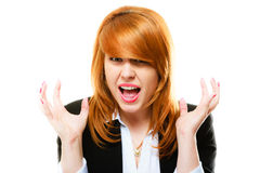 Angry furious woman screaming. Negative emotions. Angry, mad and furious businesswoman with red hair screaming isolated on white. Stress in business work Royalty Free Stock Photography