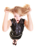 Angry furious woman screaming and pulling messy hair. Angry businesswoman crazy boss furious woman screaming and pulling messy hair isolated on white. Stress and Stock Photos