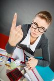 Angry furious young blonde businesswoman. Stock Image