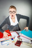 Angry furious young blonde businesswoman. Stock Images