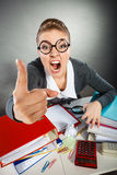 Angry furious young blonde businesswoman. Royalty Free Stock Images
