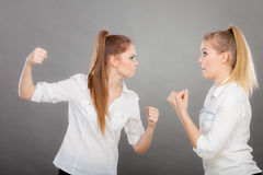 Angry fury girls punching and fighting Stock Photography