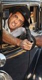 Angry Gangster Shooting Gun Stock Photo